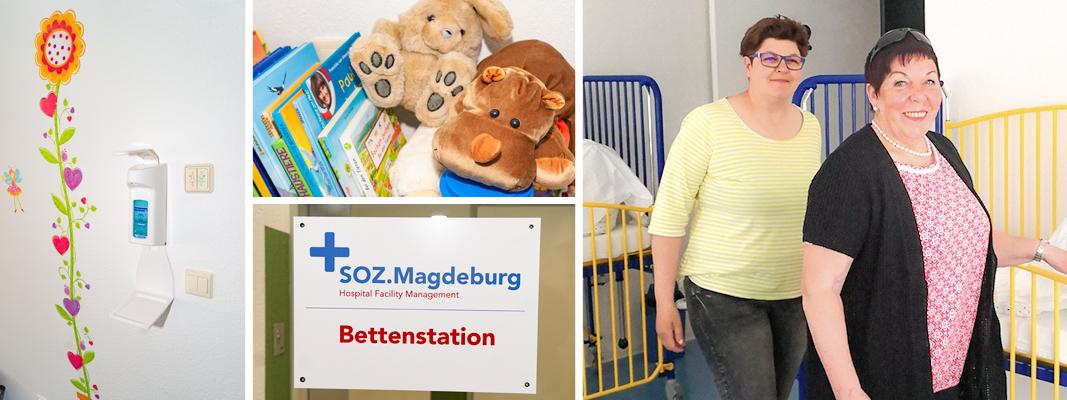 """Stationsfee Ursula """"Ulla"""" Nickel und Claudia Adam auf der Bettenstation."""